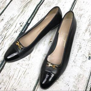 Salvatore Ferragamo Shoes - Salvatore Ferragamo Black Heels Gold Buckle Sz 10